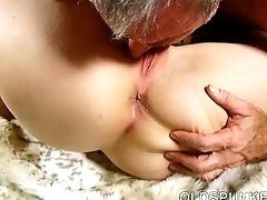 Super horny old spunker sucks weasel words while fucking her grungy dishevelled pussy