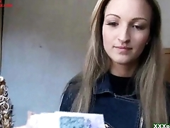 Slutty blonde Czech neonate is paid cash from some crazy public sex 21