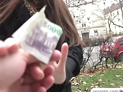 Russian brunette Milf earns fast cash by flashing her panties to a stranger