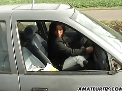 Amateur mom with big boobs sucks increased by fucks in her car