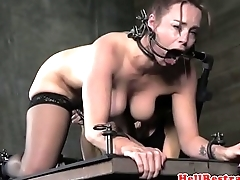 Femdom punishes gagged adult submissive