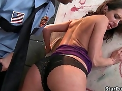 This nasty cop loves to punishes this brunette bitch-part-01