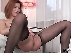 European girl enjoys speculum and inserts oversized dildo in pussy
