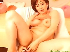 Amazing Milf fellow-feeling a amour both of her holes with toys on Cam - www.hotcamgirls.c