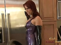 Dominatrix in a latex outfit fucked unqualifiedly hard in the kitchen