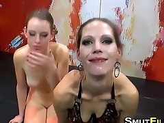 Bukkake whore tastes vag
