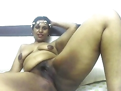 Horny South Indian in the buff and masturbating