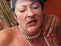 Granny gets reamed by young baffle