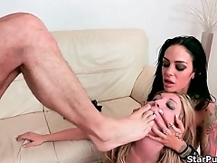 Hardcore fetish trio with a hard cock and two hungry sluts-part-04