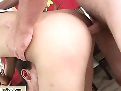 Slender Lb Gets Two Cocks Into Her Holes