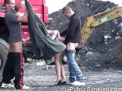 Construction Sight Public Threesome NICE