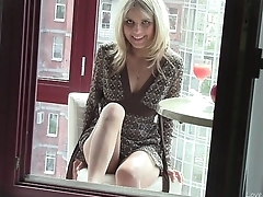 Natural blonde masturbating on transmitted to balcony