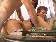 Granny getting drilled in her pussy