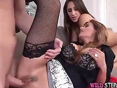 Sexy StepMom With Her Daughter Give Younger Boy Teeny-bopper During Threesome