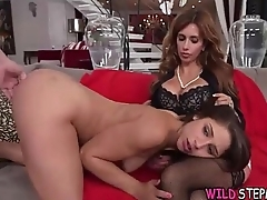 Mommy And StepDaughter Giving Younger Lad Blowjob During Ritzy 3some