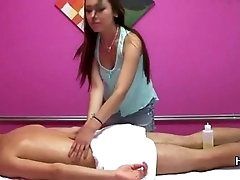 Hot Asian massage girl is oiling body plus sucking a cock of her buyer