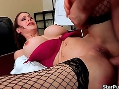 Lickerish manager fucks blackness slut'_s ass on a desk and creams her-part-02
