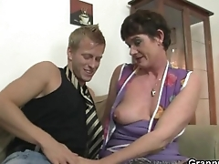 Old mom spreads legs be fitting of young cock