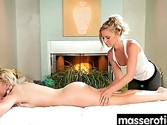 Sensual Oil Rub down turns to Hot Lesbian action 18