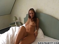 Hot non-professional girlfriend with nice tits sucks dick with CIM
