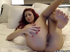 Sexy Redhead Tot Rubs Her Tight Wet Pussy &amp_ USes Vibrator on Cam pt 05