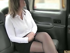 Sexy babe apropos arms with incredible tits gets banged hard apropos the cab