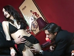 Skillful pornstar is accessible to take four cocks