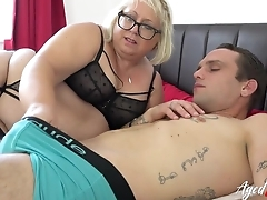 Obese matured trull with pierced cunt blows younger guy