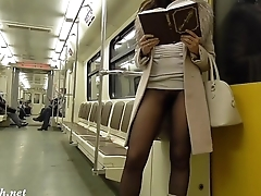 Jeny Smith seamless pantyhose subway pussy flash