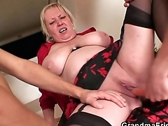 Nasty oldie takes two hard dicks