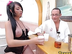 Latina shemale doggystyled alongside chum around with annoy bathtub