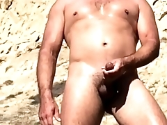 Hot young cock jerks off in public at blacks!