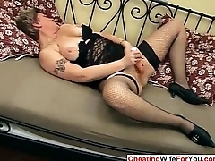 Hairy Russian MILF with dildo
